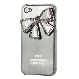 Rhinestone Bowknot Crystal Bling Case Cover for iPhone 4 4S (All Versions) - Transparent