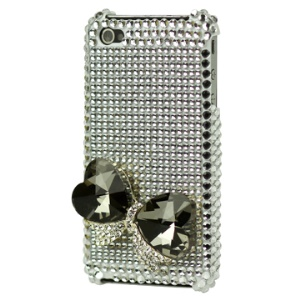 Heart Jewel Bling Rhinestone Hard Case for iPhone 4 4S (All Versions) - Silver