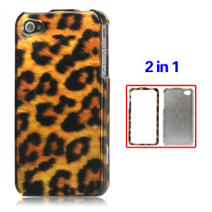 Detachable Leopard Hard Case for iPhone 4 4S