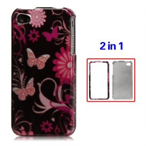 Snap-on Butterfly Flora Hard Case for iPhone 4 4S