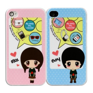 2 PCS Enjoy Daily Life Couple Hard Cases for iPhone 4