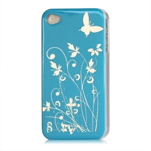 Butterfly Flowers Lacquered Hard Case for iPhone 4 - Blue