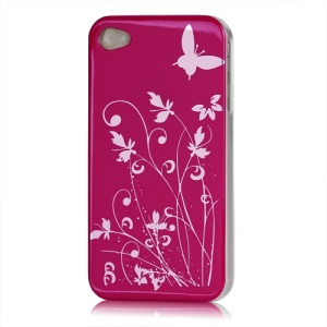Butterfly Flowers Lacquered Hard Case for iPhone 4 - Rose
