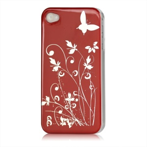 Butterfly Flowers Lacquered Hard Case for iPhone 4 - Red