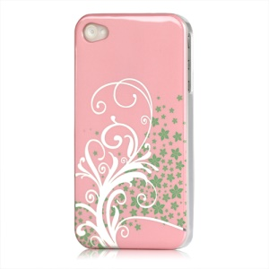 Beautiful Phoenix Flowers Lacquered Hard Case for iPhone 4 - Pink