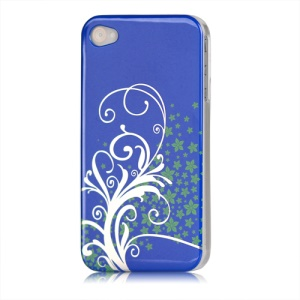 Beautiful Phoenix Flowers Lacquered Hard Case for iPhone 4 - Dark Blue