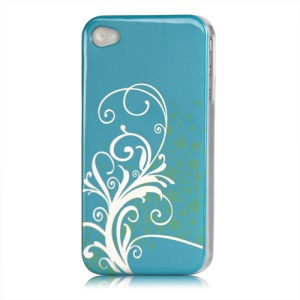 Beautiful Phoenix Flowers Lacquered Hard Case for iPhone 4 - Blue