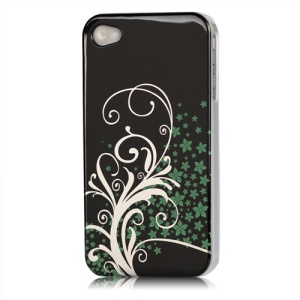 Beautiful Phoenix Flowers Lacquered Hard Case for iPhone 4 - Black