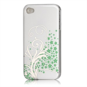 Beautiful Phoenix Flowers Lacquered Hard Case for iPhone 4 - White