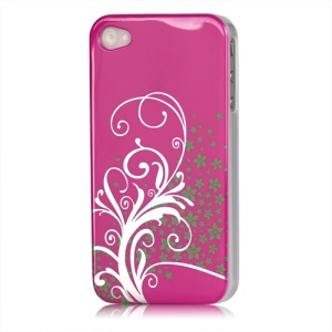 Beautiful Phoenix Flowers Lacquered Hard Case for iPhone 4 - Rose
