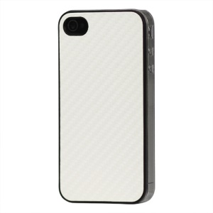 Carbon Fibre Hard Protective Case for iPhone 4 - White
