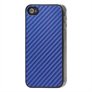 Carbon Fibre Hard Protective Case for iPhone 4 - Blue