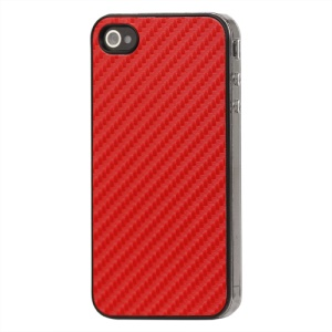 Carbon Fibre Hard Protective Case for iPhone 4 - Red