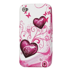 Hearts Pattern TPU Gel Case for iPhone 4 4S
