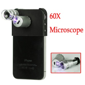 Mini 60X Magnifier Microscope for iPhone 4 (2 LEDs, 1 UV Light)