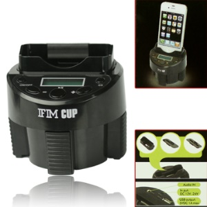 Full Channel FM Transmitter Cup and Dock Charger for iPod iPhone