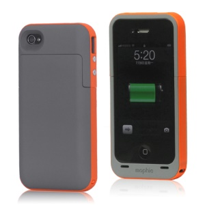 2000mAh External Backup Battery Charger Case for iPhone 4 4S - Orange / Grey