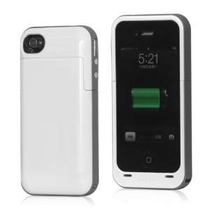 2000mAh External Battery Charger Case for iPhone 4 4S - Grey / White