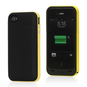 2000mAh External Backup Battery Charger Case for iPhone 4 4S - Yellow / Black