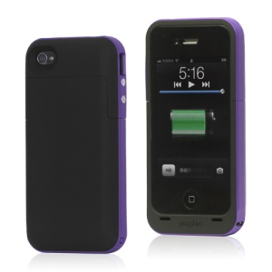 2000mAh External Backup Battery Charger Case for iPhone 4 4S - Purple / Black