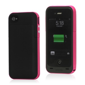 2000mAh External Backup Battery Charger Case for iPhone 4 4S - Rose / Black