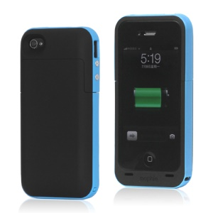 2000mAh External Backup Battery Charger Case for iPhone 4 4S - Blue / Black