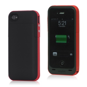 2000mAh External Backup Battery Charger Case for iPhone 4 4S - Red / Black