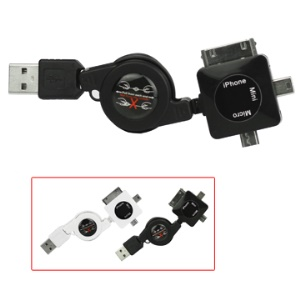 3 in 1 Retractable USB Charger Sync Cable for iPhone (Mini + Micro + Apple 30pin Connector)