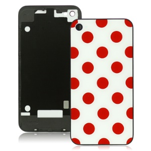 iPhone 4 Housing Back Cover with Red Circle Dots and White Background