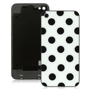 Black Circle Dots White Background Rear Cover Housing Replacement for iPhone 4