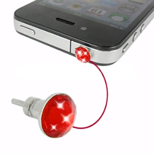 iPhone 4 Crystal Earphone Jack Anti-dust Plug Stopper and Sim Card Eject Pin (AT&amp;T Verizon) - Red