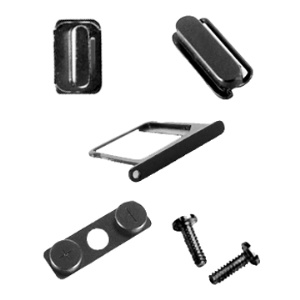 iPhone 4 4G Side Buttons w/ SIM Card Holder and Screws Set - Black