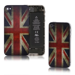 Retro Union Jack Glass iPhone 4 Back Cover Housing Replacement