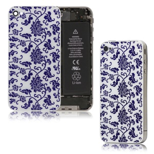 Blue and White Porcelain Glass Back Cover Housing for iPhone 4