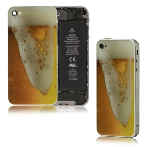 Brimming Beer Pattern Glass Battery Cover Back Housing for iPhone 4