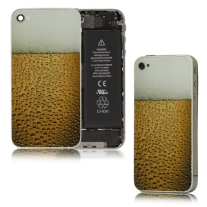 Bubble Limpid Beer Glass Back Cover Housing Replacement for iPhone 4