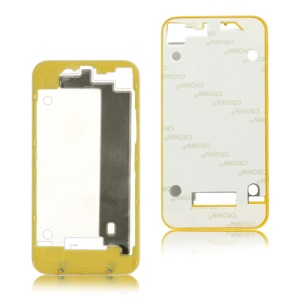 Plastic Frame Bezel for iPhone 4 Back Cover Housing - Yellow