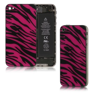Zebra Glass iPhone 4 Back Cover Housing Replacement - Black / Red