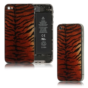 Glass Siberian Tiger Skin Back Housing Battery Cover for iPhone 4