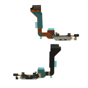Dock Connector Circuit Charging Port Flex Cable for iPhone 4 (High Quality) - Black