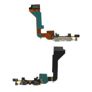 Dock Connector Charging Port Flex Cable for iPhone 4 4G (High Quality) - White