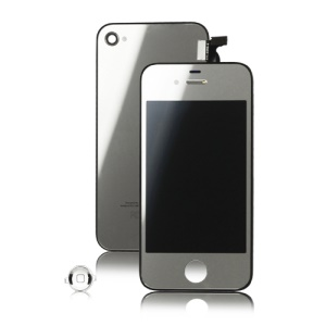 Plated Mirror iPhone 4 Conversion Kit (LCD Assembly + Back Housing + Home Button) - Silver