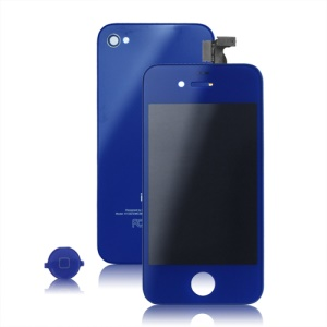 Colored iPhone 4 Conversion Kit (LCD Assembly + Back Cover + Home Button) - Dark Blue