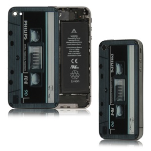 Cartridge Tape Cassette Glass Housing Back Cover for iPhone 4 - Blue