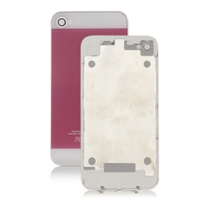 iPhone 5 Style Glass Housing Back Cover for iPhone 4 - White / Pink