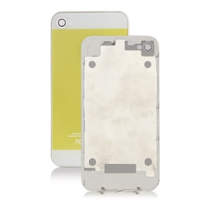 iPhone 5 Style Glass iPhone 4 Back Cover Housing - White / Yellow