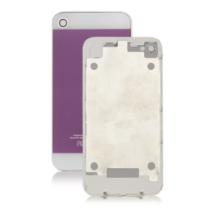 iPhone 5 Style Glass Back Cover Housing for iPhone 4 - White / Purple