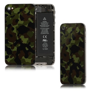 Dark Blue Camouflage Glass Back Cover Housing for iPhone 4