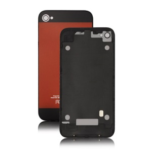 iPhone 5 Style Glass Back Cover Housing for iPhone 4 - Black / Orange