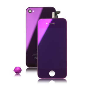 Electroplated Mirror Colored Conversion Kit for iPhone 4( LCD Screen + Digitizer + Back Housing + Home Button) - Purple